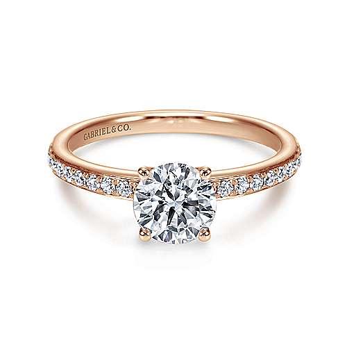 Gabriel - Megan 14k Pink Gold Round Straight Engagement Ring
