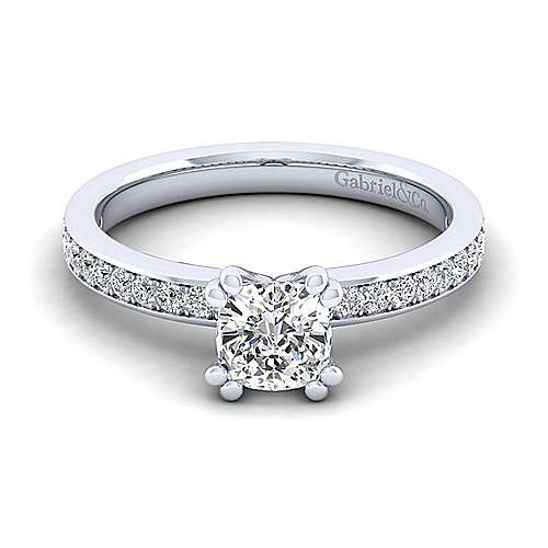 Gabriel - Megan 14k White Gold Cushion Cut Straight Engagement Ring