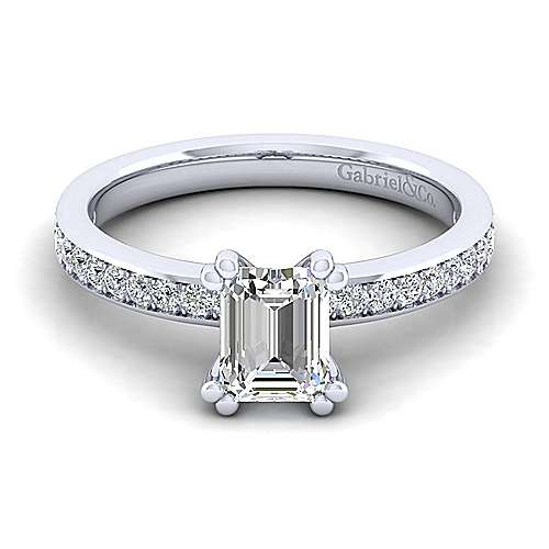 Gabriel - Megan 14k White Gold Emerald Cut Straight Engagement Ring