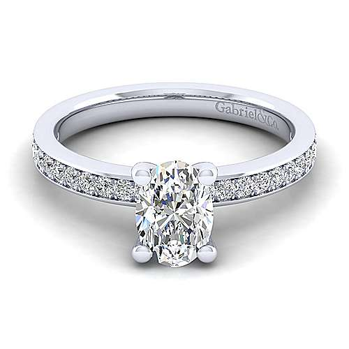 Gabriel - Megan 14k White Gold Oval Straight Engagement Ring