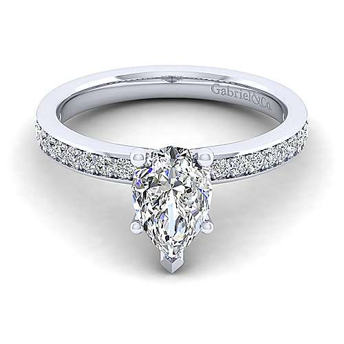 Gabriel - Megan 14k White Gold Pear Shape Straight Engagement Ring