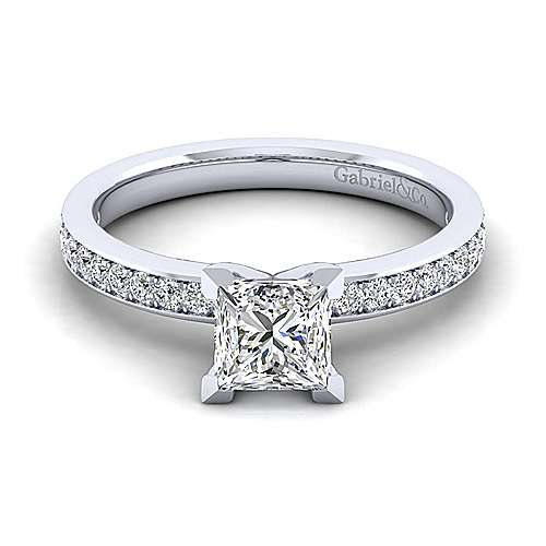 Gabriel - Megan 14k White Gold Princess Cut Straight Engagement Ring