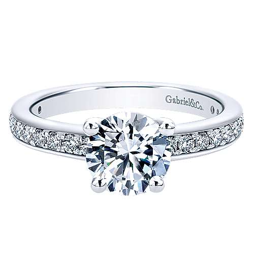 Gabriel - Megan 14k White Gold Round Straight Engagement Ring