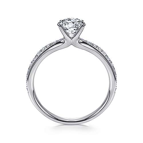 Megan 14k White Gold Round Straight Engagement Ring angle 2