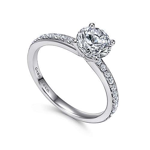 Megan 14k White Gold Round Straight Engagement Ring angle 3