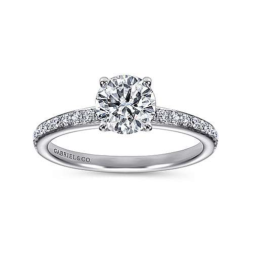 Megan 14k White Gold Round Straight Engagement Ring angle 5