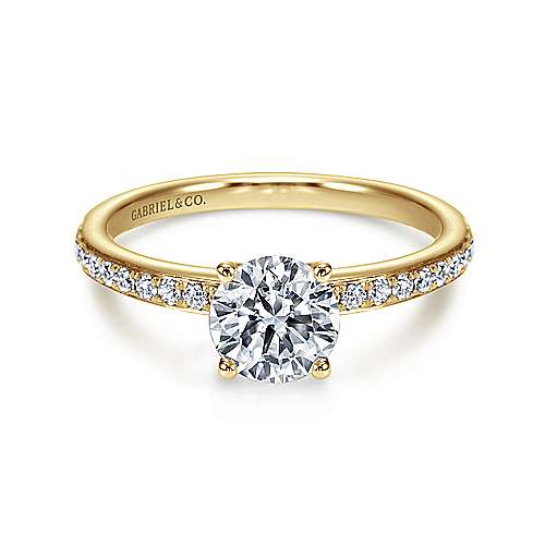 Gabriel - Megan 14k Yellow Gold Round Straight Engagement Ring