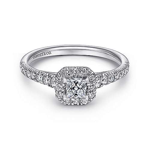 Gabriel - Melanie 14k White Gold Princess Cut Halo Engagement Ring