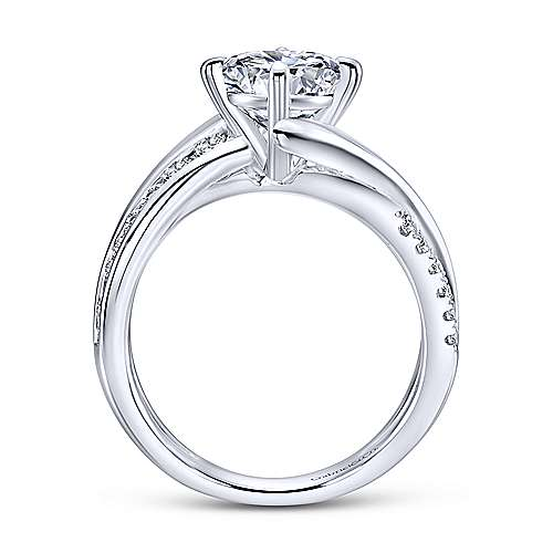 Melika 14k White Gold Round Bypass Engagement Ring angle 2