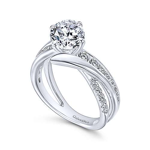 Melika 14k White Gold Round Bypass Engagement Ring angle 3