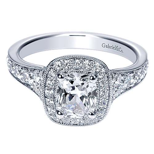 Melinda 14k White Gold Cushion Cut Halo Engagement Ring angle 1