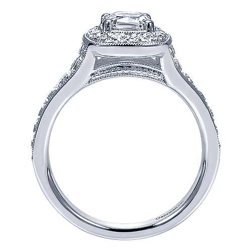 Melinda 14k White Gold Cushion Cut Halo Engagement Ring angle 2