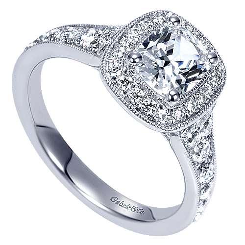 Melinda 14k White Gold Cushion Cut Halo Engagement Ring