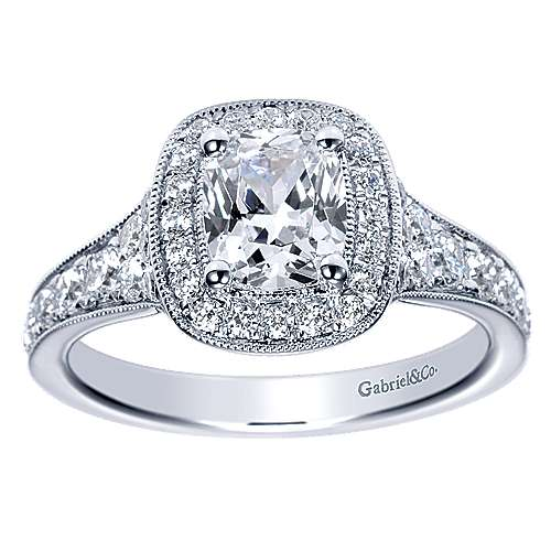 Melinda 14k White Gold Cushion Cut Halo Engagement Ring angle 5