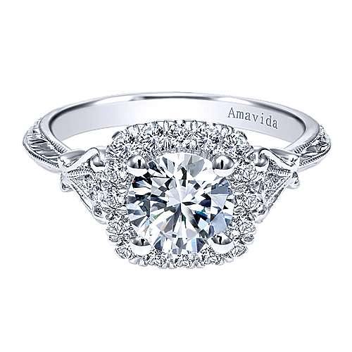 Gabriel - Mercer 18k White Gold Round Halo Engagement Ring