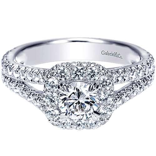 Gabriel - Mercury 14k White Gold Round Halo Engagement Ring
