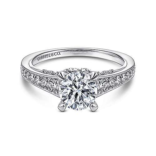 Gabriel - Meriel 18k White Gold Round Straight Engagement Ring