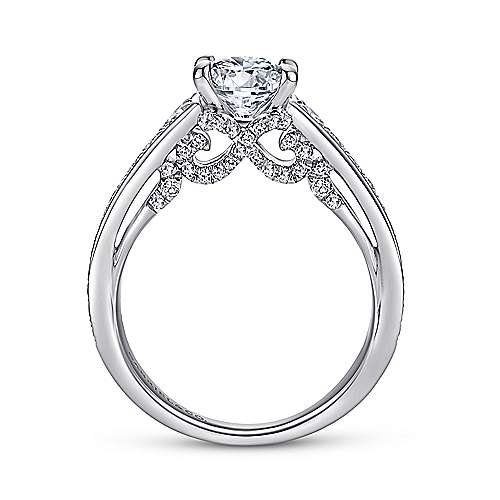 Meriel 18k White Gold Round Straight Engagement Ring angle 2