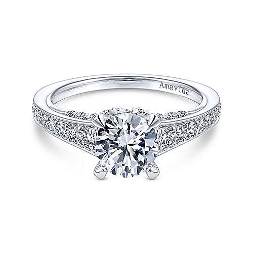 Gabriel - Meriel Platinum Round Straight Engagement Ring