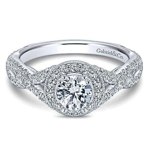 Gabriel - Merino 14k White Gold Round Halo Engagement Ring