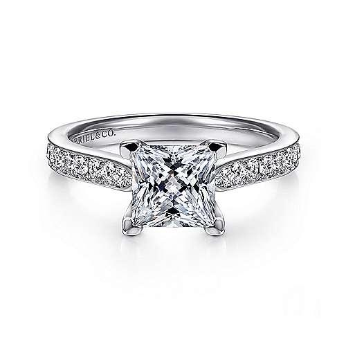 Gabriel - Merritt 14k White Gold Princess Cut Straight Engagement Ring