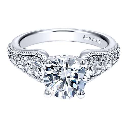 Gabriel - Mesmerize 18k White Gold Round Straight Engagement Ring