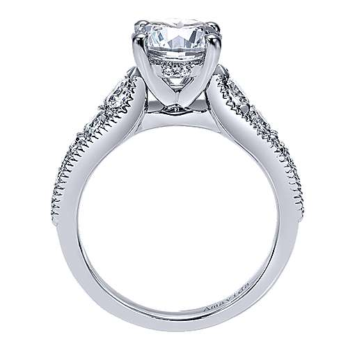 Mesmerize 18k White Gold Round Straight Engagement Ring angle 2