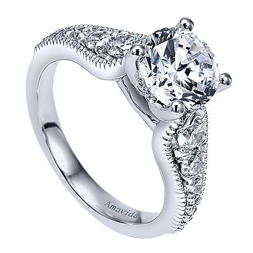 Mesmerize 18k White Gold Round Straight Engagement Ring angle 3