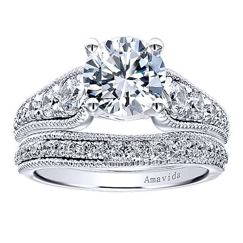 Mesmerize 18k White Gold Round Straight Engagement Ring angle 4