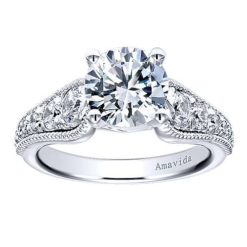 Mesmerize 18k White Gold Round Straight Engagement Ring angle 5