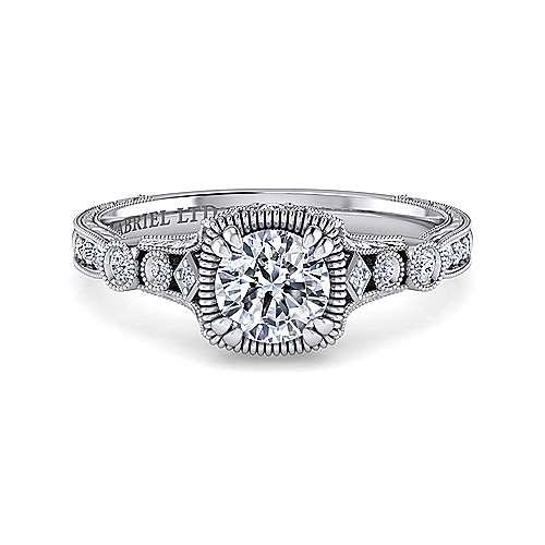 Gabriel - Metropolitan Platinum Round Halo Engagement Ring