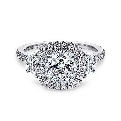 Gabriel - Mia 14k White Gold Cushion Cut 3 Stones Halo Engagement Ring