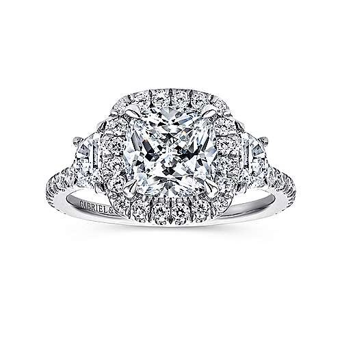 Mia 14k White Gold Cushion Cut 3 Stones Halo Engagement Ring angle 5