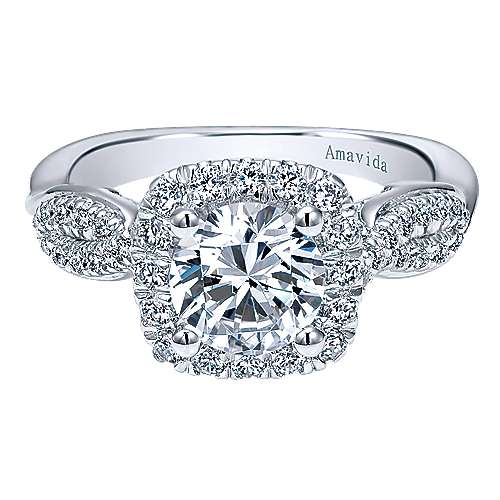 Gabriel - Micah 18k White Gold Round Halo Engagement Ring