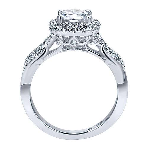 Micah 18k White Gold Round Halo Engagement Ring