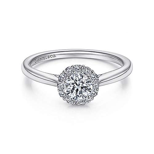 Gabriel - Michaela 14k White Gold Round Halo Engagement Ring