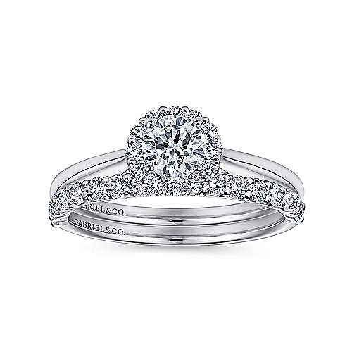 Michaela 14k White Gold Round Halo Engagement Ring angle 4