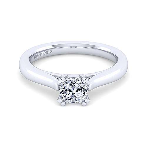Michelle 14k White Gold Cushion Cut Solitaire Engagement Ring angle 1
