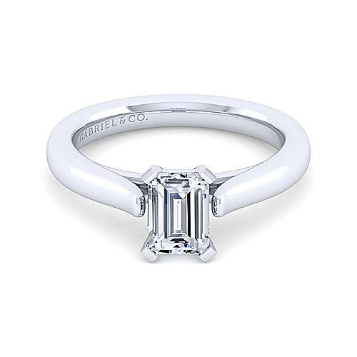 14k White Gold Emerald Cut Solitaire