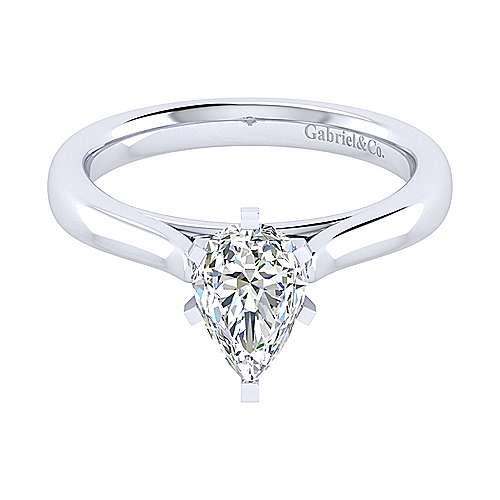 Michelle 14k White Gold Pear Shape Solitaire Engagement Ring angle 1