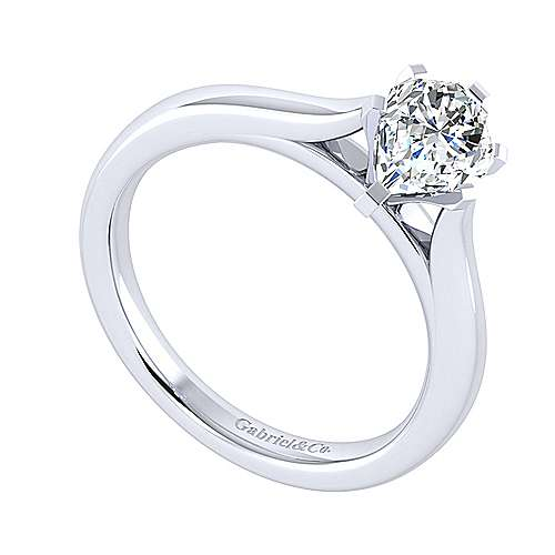 Michelle 14k White Gold Pear Shape Solitaire Engagement Ring angle 3