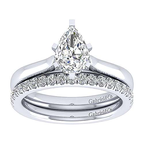 Michelle 14k White Gold Pear Shape Solitaire Engagement Ring angle 4