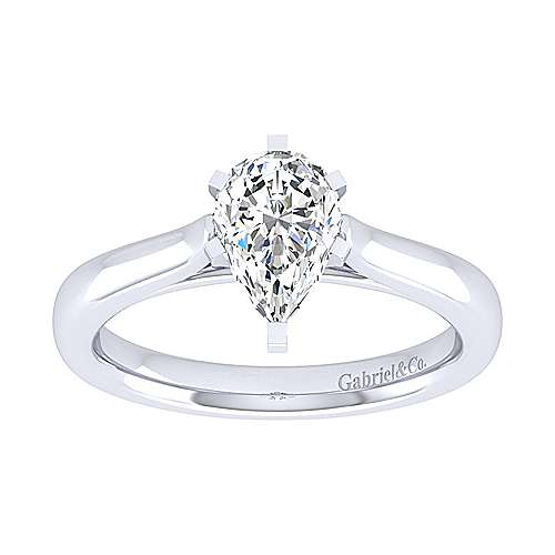 Michelle 14k White Gold Pear Shape Solitaire Engagement Ring angle 5