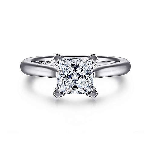 Gabriel - Michelle 14k White Gold Princess Cut Solitaire Engagement Ring