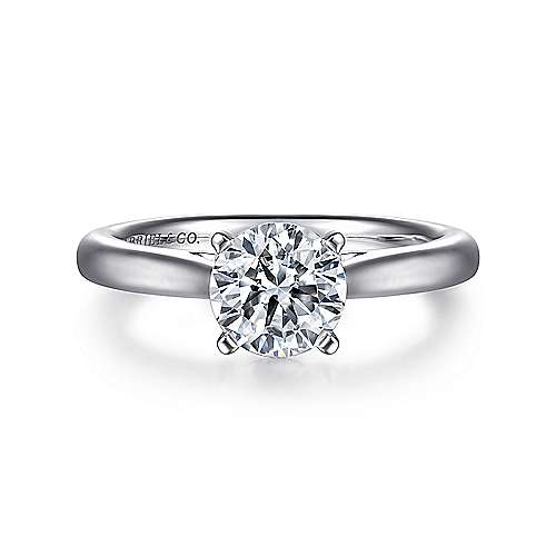 Michelle 14k White Gold Round Solitaire Engagement Ring angle 1