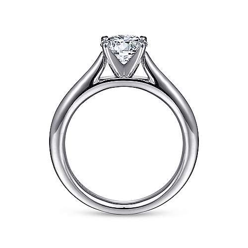 Michelle 14k White Gold Round Solitaire Engagement Ring angle 2