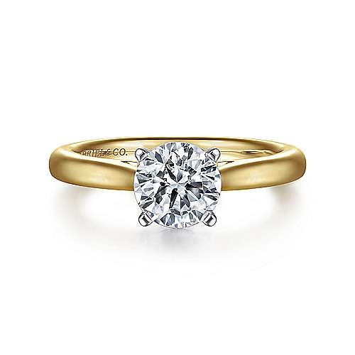 Michelle 14k Yellow And White Gold Round Solitaire Engagement Ring angle 1