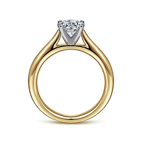 Michelle 14k Yellow And White Gold Round Solitaire Engagement Ring angle 2
