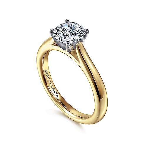 Michelle 14k Yellow And White Gold Round Solitaire Engagement Ring angle 3