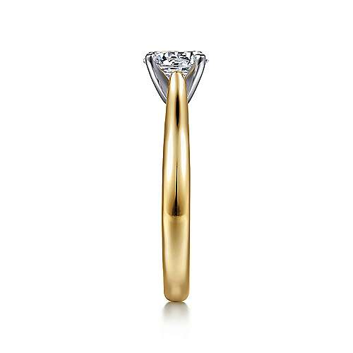 Michelle 14k Yellow And White Gold Round Solitaire Engagement Ring angle 5